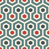tła zamknięty honeycomb wizerunek zamknięty Retro kolory powtarzający sześciokąt tafluje tapetę Bezszwowy wzór z klasycznym geome ilustracja wektor