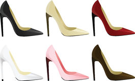 tła zbliżenia różna cieków pięt wysokość odizolowywał nóg czerwieni butów sneakers sporty białej kobiety dwa target977_0_ kobiety Zdjęcia Royalty Free