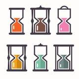 tła zegarowego obejmowania szary hourglass mężczyzna malował ciężarne piaska żołądka kobiety Wektorowe Retro Płaskie projekt ikon royalty ilustracja