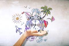 tła zegarowy pojęcie odizolowywający czas wakacje ściany biel Zdjęcia Stock