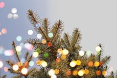 tło świąteczne lampki tree Obraz Royalty Free
