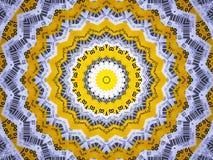 Tło Żółty i Biały mandala z Prętowego kodu wzorem obrazy stock