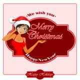 Tło życzymy wam Wesoło boże narodzenia tekst i ładna Santa dziewczyna ilustracji
