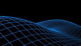 tło abstrakcjonistyczna cyberprzestrzeń Krajobrazowa lub falowa siatki ilustracja 3d technologii wireframe Cyfrowej siatka dla ba Zdjęcie Stock