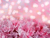 tło abstrakcyjna zimy Różowe lodowego kryształu formacje z bokiem fotografia stock