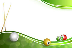 Tło abstrakta zieleni basenu wskazówki piłki bilardowa ilustracja royalty ilustracja