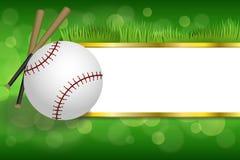Tło abstrakta zieleni sporta baseballa piłki białego klubu złociści paski obramiają ilustrację ilustracji