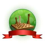 Tło abstrakta zieleni szachowej gry brązu beżu deski postaci okręgu ramy czerwona tasiemkowa ilustracja Zdjęcia Stock