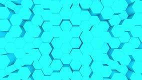 Tło błękitu abstrakcyjnego. Animacja 3D turkusowych sześciokątów wznoszących się w górę i w dół ilustracja wektor