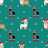 tło bezszwowy wektora Psy w zimie odziewają Nowego Roku ` s obrazek dla dekoraci kocowanie, papier, kartka z pozdrowieniami ilustracja wektor