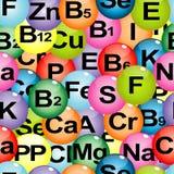 Tło bezszwowy z chemicznymi formułami witaminy i górnik Fotografia Stock