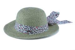 tło biel kapeluszowy słomiany Obraz Stock