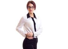 tło bizneswomanu okulary odizolowane nad białymi young Obraz Stock