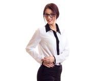 tło bizneswomanu okulary odizolowane nad białymi young Zdjęcie Royalty Free