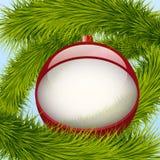 Tło Bożenarodzeniowa piłka i świerczyny drzewo Zdjęcia Stock