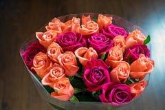 Tło brzoskwini i karmazynów róże Piękne koralowe róże, kwiatu bukiet zamknięty w górę Bukiet karmazyny i brzoskwini róże obraz royalty free