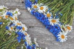 Tło bukiety piękni dzicy kwiaty stokrotki i cornflowers na tle stary drewniany tło kopia obrazy stock