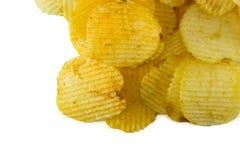 tło chip ziemniaka obraz żywności fiutka szereg białych Zdjęcia Royalty Free