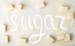 Tło cukieru przerafinowywający i odgórny widok przedłużyć, Zdjęcia Stock