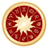 tło czerwień podpisuje słońce zodiaka Fotografia Royalty Free