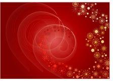 tło czerwone płatki śniegu ilustracji
