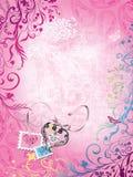 Tło dla dziewczyn, serc i znaczków, ilustracja wektor