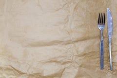 Tło dla menu Opakunkowy papier, nóż i rozwidlenie i Używa tworzyć menu Zdjęcie Stock