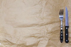 Tło dla menu Opakunkowy papier, rozwidlenie i stku nóż Używa tworzyć menu dla steakhouse Zdjęcie Royalty Free