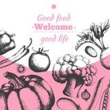 Tło dla projekta zaproszenia i menu składać się z świezi warzywa ilustracji