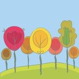 tło drzewa śliczni sezonowi royalty ilustracja