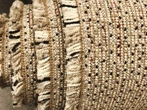 Tło dywanowa tkanina w zakończeniu up struktura dywanowa tło szeregu Fotografia Royalty Free
