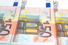 tło euro pięćdziesiąt notatek Fotografia Royalty Free
