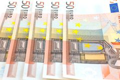 tło euro pięćdziesiąt notatek Zdjęcie Royalty Free