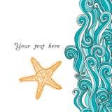 Tło fala i rozgwiazda, morski wzór Ocean tekstura Fotografia Stock
