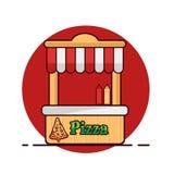tło fast - pizzy obrazu szereg białych Pizza odizolowywający przedmiot Obrazy Royalty Free