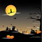 tło folował Halloween księżyc Zdjęcia Royalty Free