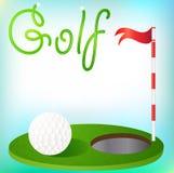 Tło grać w golfa piłkę w trawie i flaga Zdjęcie Stock