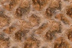 Tło kamiennego nierównego brukowa brązu linii nierówny wietrzejący cement wykłada miastowego stylowego tło sieci projekt zdjęcie stock