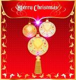 Tło kartka bożonarodzeniowa z dekoracyjnymi piłkami Obrazy Royalty Free