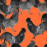 Tło koguty bezszwowy wzoru beak dekoracyjnego latającego ilustracyjnego wizerunek swój papierowa kawałka dymówki akwarela ilustracji