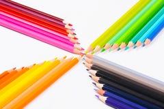 tło kolor barwił biały odosobnionych ołówkowych ołówki royalty ilustracja