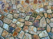 Tło Kolorowa Kafelkowa ściana z Różnorodnymi kształtami cegły zdjęcia royalty free
