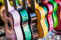 Tło kolorowe meksykańskie gitary Fotografia Stock