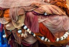 Tło kolorowe sieci rybackie i pławiki, Bermeo bask co obrazy stock