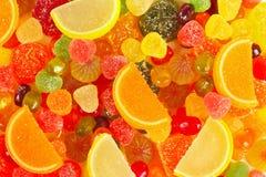 Tło kolorowi fruity cukierki i galaretowy zbliżenie Fotografia Stock