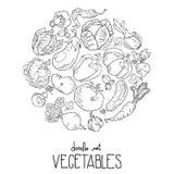 Tło kontur składa się warzywa i owoc ikony układał w okręgu ilustracja wektor