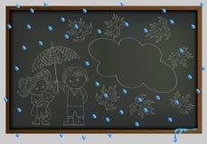 Tło kontur, zarząd szkoły i dziewczyna w deszczu i chłopiec kredowy wizerunek Obraz Stock