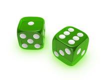 tło kostka do gry zielenieją półprzezroczystego biel Zdjęcia Royalty Free