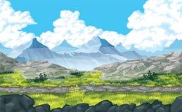Tło krajobraz z skałami i górami ilustracja wektor