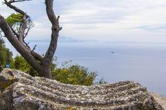 Tło krajobrazowy widok cieśniny Gibraltar i wybrzeże Afryka od skały Gibraltar Obraz Royalty Free